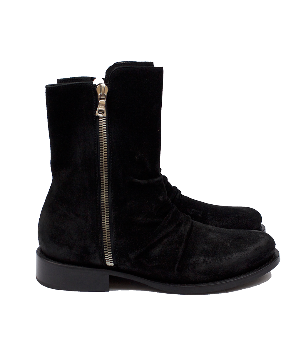 Black Waxed Suede Stack Chelsea Boots   Products   Pinterest   Products