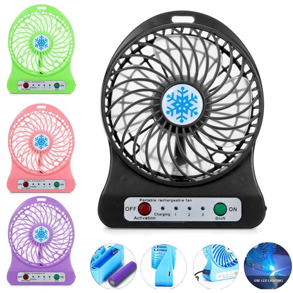 Portable Rechargeable Led Light Fan Air Cooler Mini Desk Usb 18650