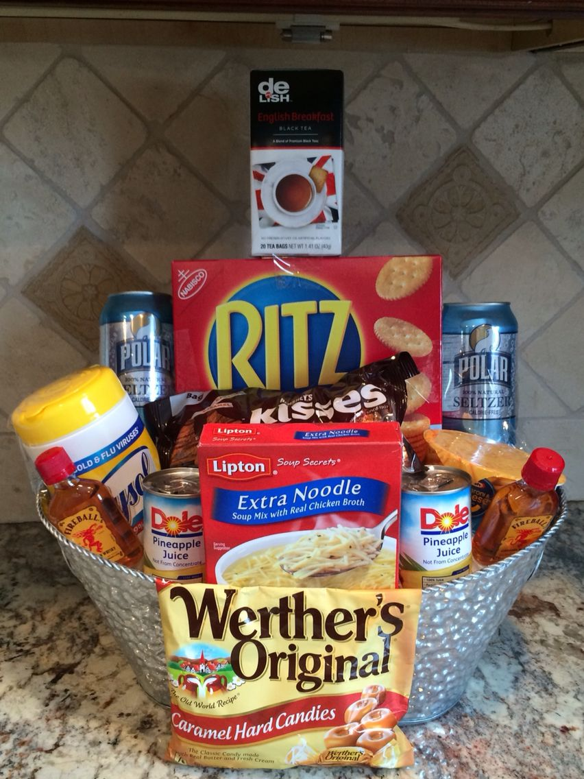 Get well soon!                   Care basket filled with soup,crackers,tissues,seltzer,pineapple juice, Mac & cheese,Hershey kisses,candy Clorox wipes & fireball! Lol