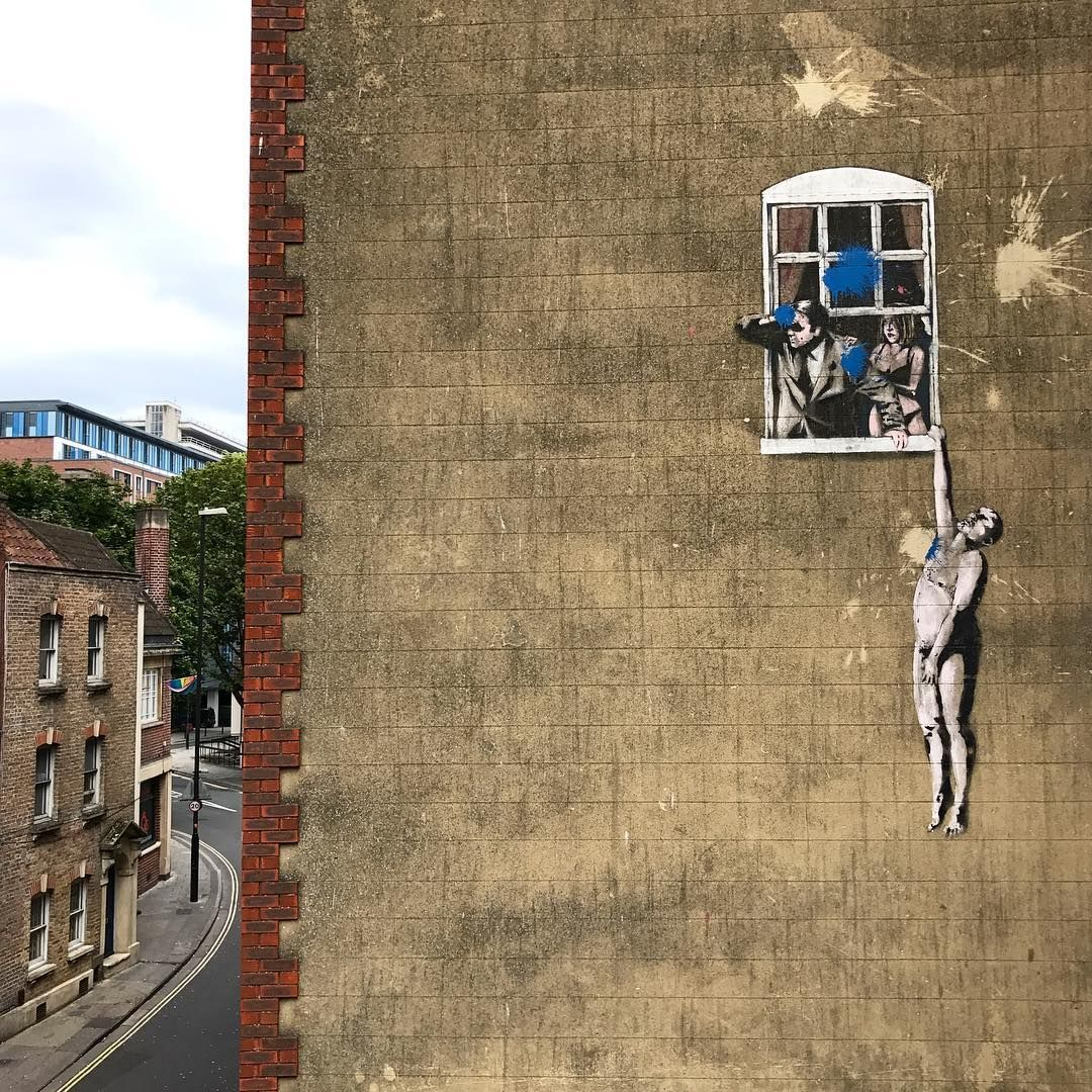 "Well hung lover"" by @banksy in #Bristol #Streetart #Urbanart ..."