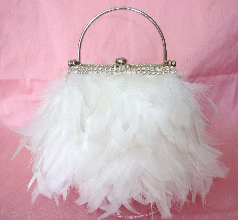 Elegant Magical Designer White Feather with Rhinestone Diamonds Trim ...