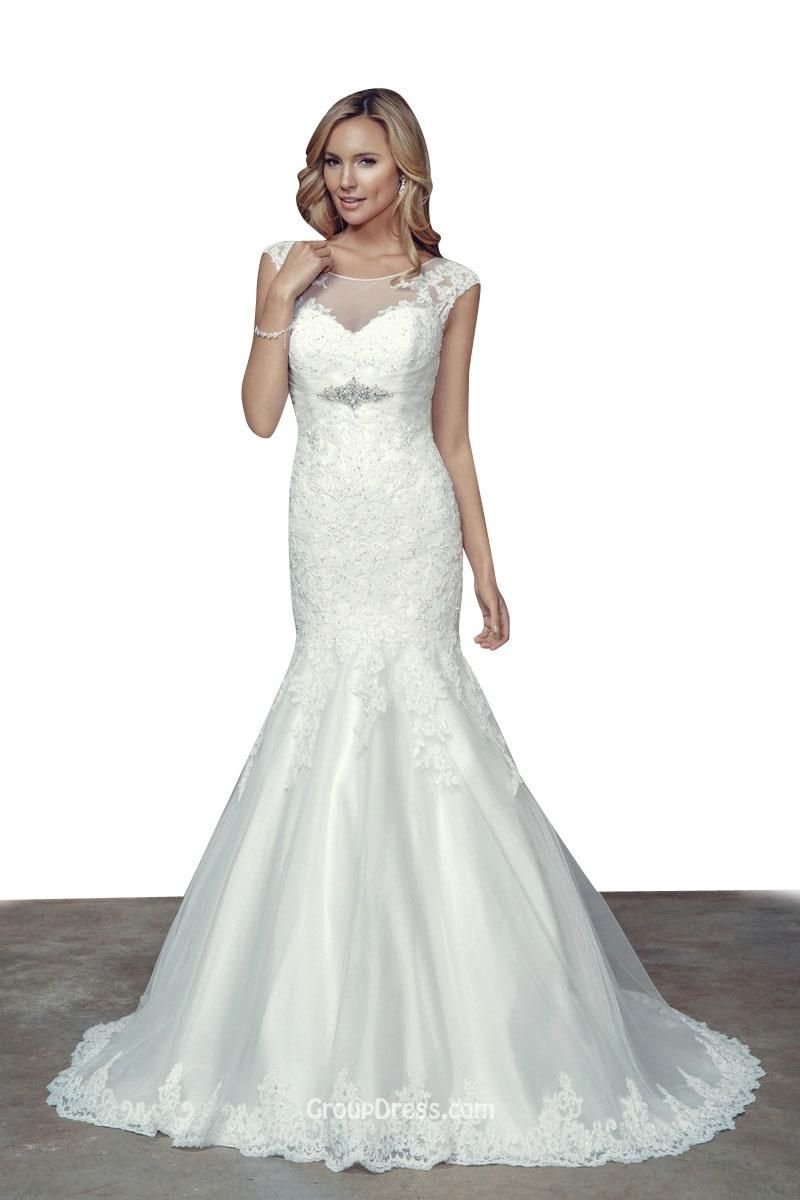 Destination boat neckline cap sleeves lace mermaid wedding dress