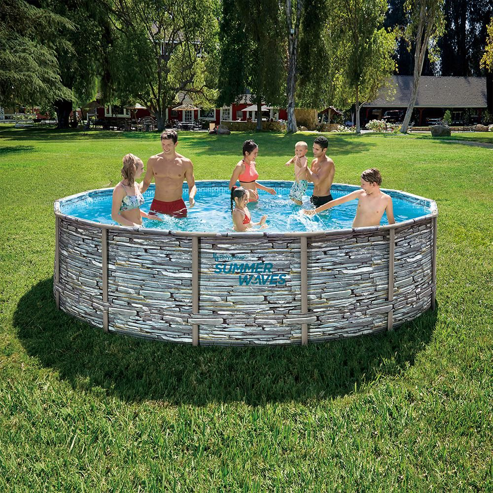 Summer Waves Elite 14 Ft Round 42 In D Above Ground Elite Metal Frame Pool With Sfx1000 Skimmer Plus Filter Pump And Accessories P4w01442b The Home Depot Summer Waves Pool Above