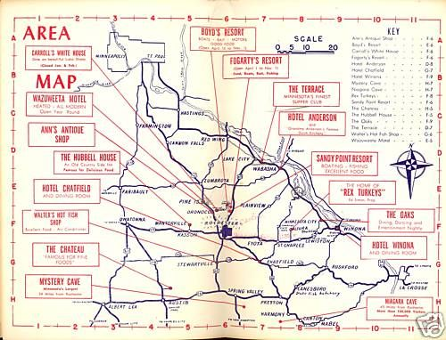 1953 Foldout Map Rochester Minnesota City Loop Area I Lived In