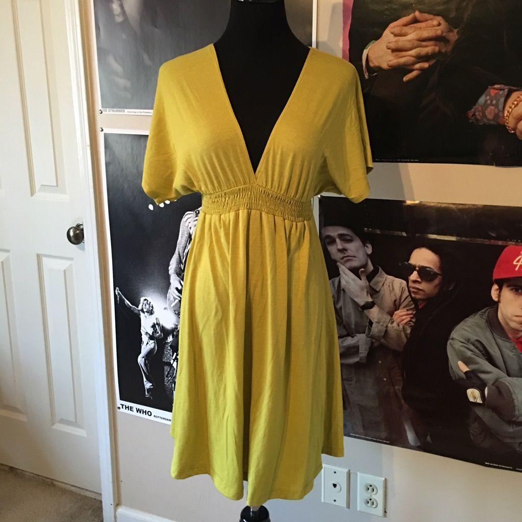 Yellowgreen mossimo deep v neck dress pinterest products