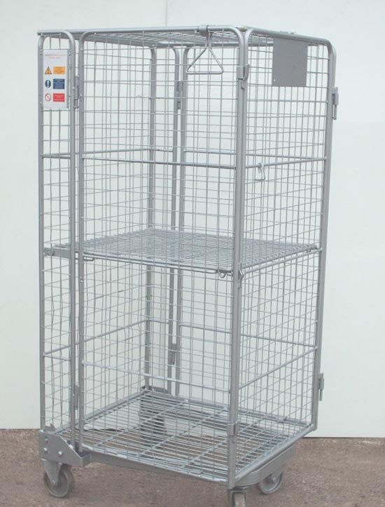 SHR190 Used Security Roll Container Nominal size: 730mm x 830mm x 1700mm overall height Full security nestable 'A' frame roll container with lockable front gate. Of tubular construction these roll pallets have mesh infill in all sides, gates and lid. Mounted on 2 fixed and 2 swivel 125mm diameter castors and fitted with integral hinged mid height shelf. In good used condition. Used roll cage dimensions and styles vary.