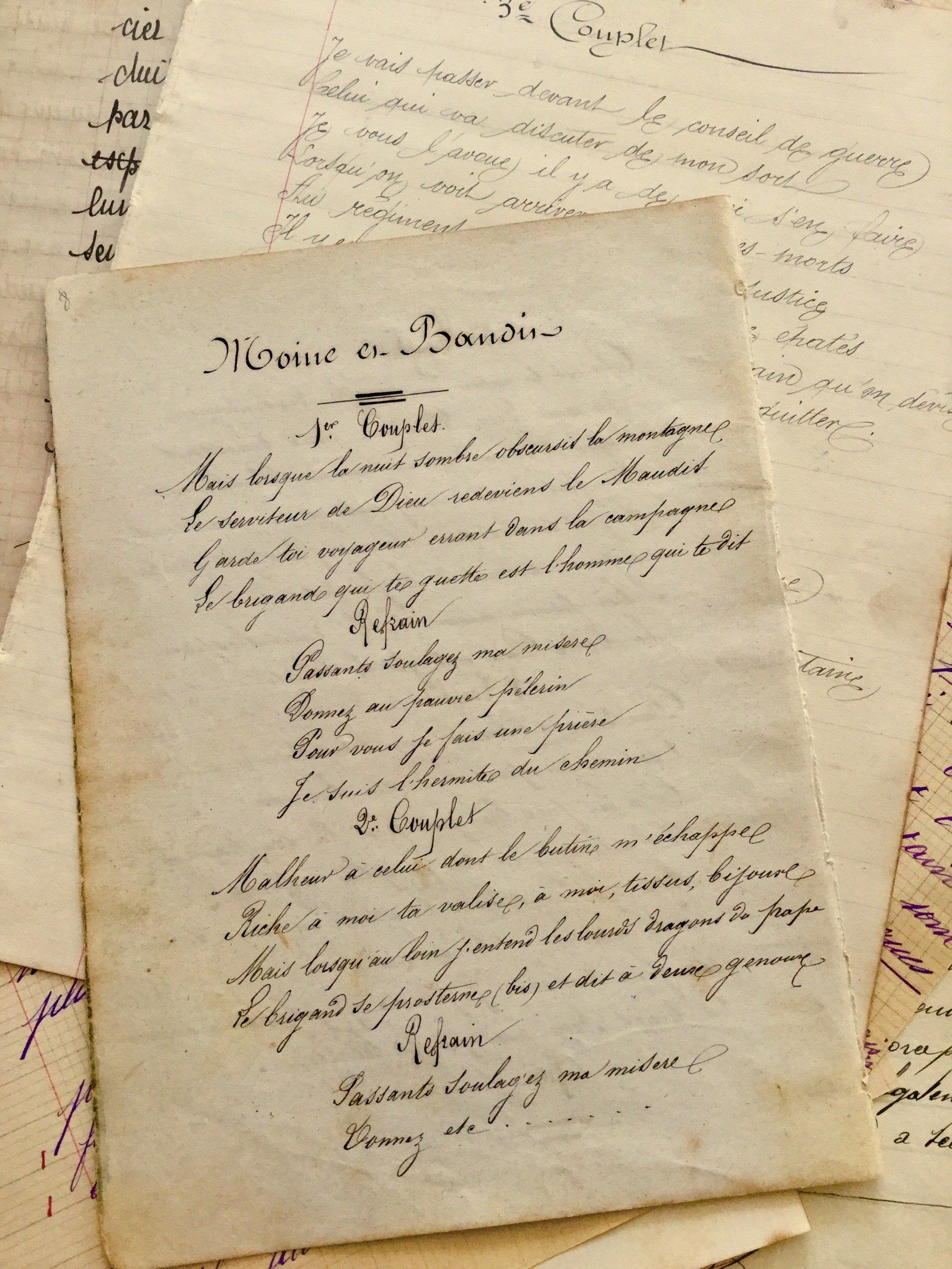 Two Vintage French Script Paper Parchment 1830s From France Handwritten Old Document Hand Cursive Writing Penmanship French Calligraphy