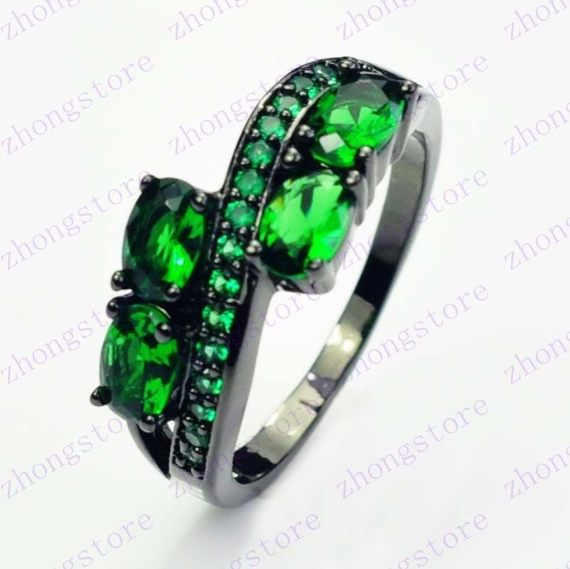 Jewellery Best Ladys Gift Green Emerald 10kt Black Gold Filled Ring 10 Wedding