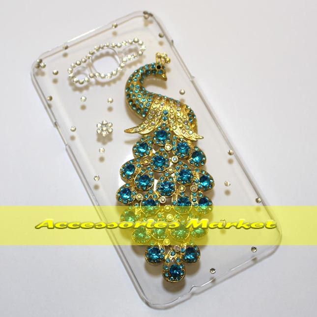 For Samsung J7 J700 Case Cover, Handmade Bling Peacock Phone Case Cover For Samsung J7 J700