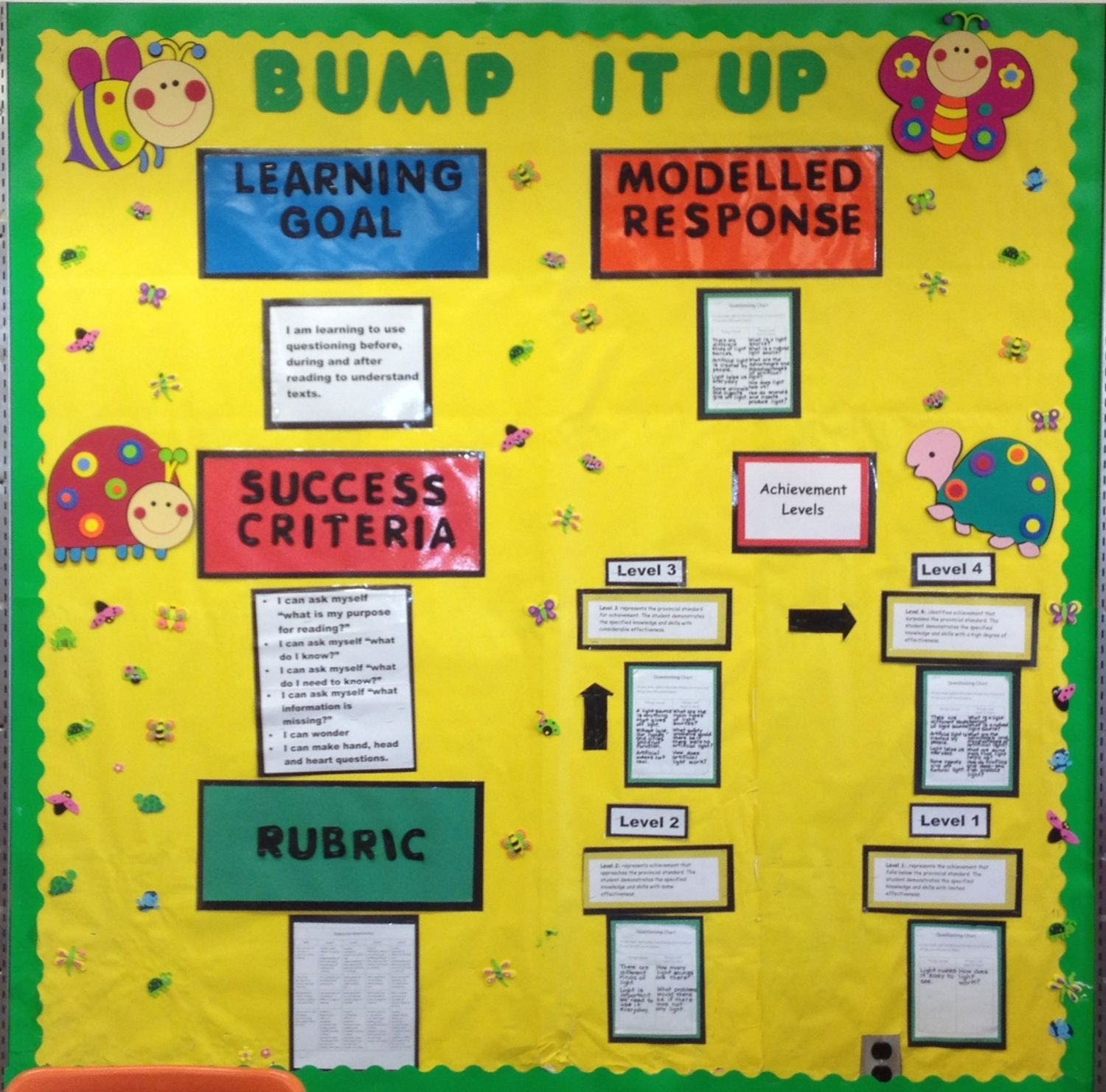Bump It Up Wall - Great for posting the learning goal, success ...