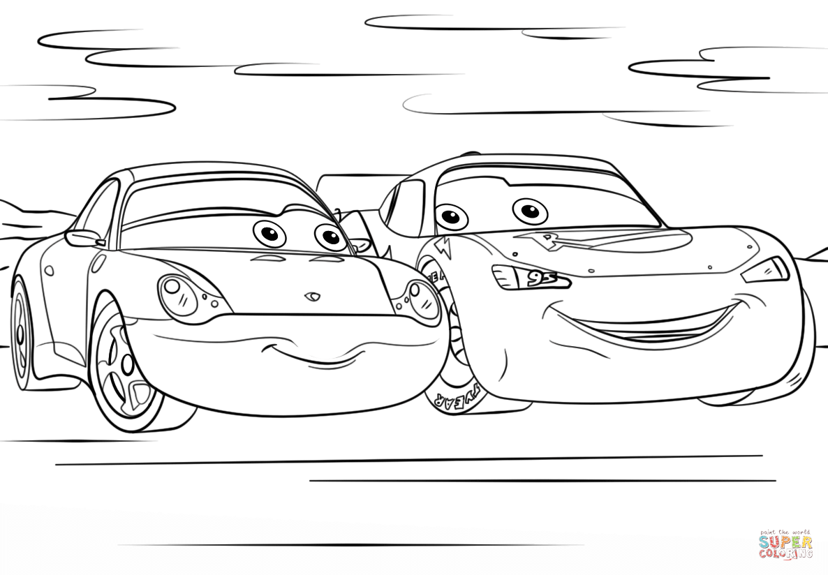 - Lightning Mcqueen And Sally From Cars 3 Coloring Page Free