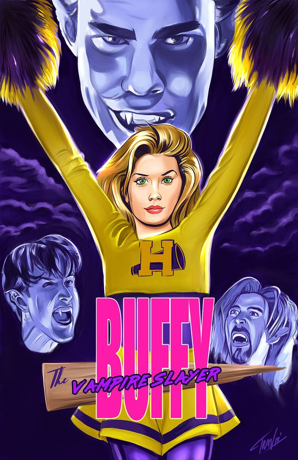 """952fd52c37b ibtravart: """"Recent poster art for upcoming screening of """"Buffy the Vampire  Slayer"""" October 11 in Roanoke VA at the South County Library. """""""