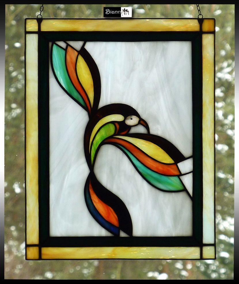 biannart Wiosenny Ptak Witraż Tiffany Witraż