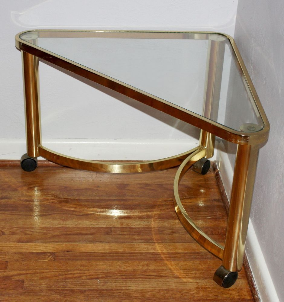 Vintage Mid Century Hollywood Baughman Style Brass & Glass Rolling