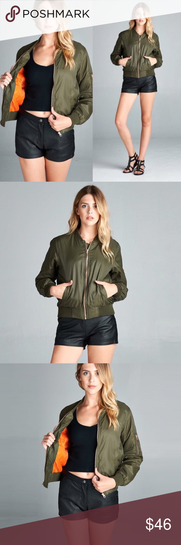 Olive Medium Weight Bomber Jacket This medium weight fall bomber jacket is a go to item to complete any simple outfit. Featuring rose gold zipper, ribbed accents, and a zip up arm pocket.   🚫No trades please. If you have any questions about this item I will be more than happy to answer them. Jackets & Coats