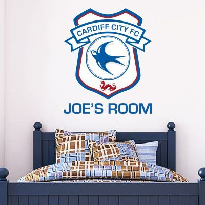 Cardiff city football club personalised name crest wall sticker wall stickers football stickers
