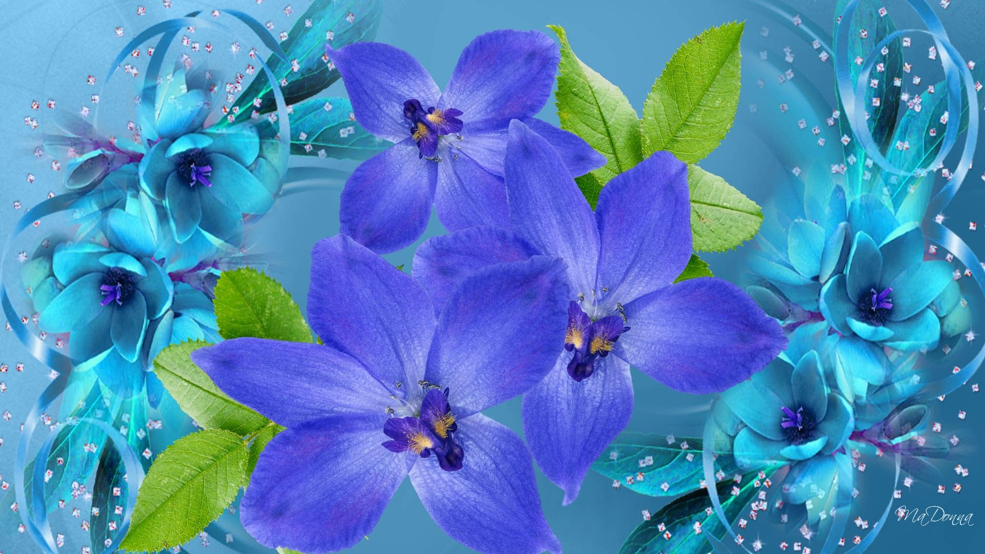 Floral Persona Flora Flowers Summer Firefox Abstract Purple Blue Wallpapers
