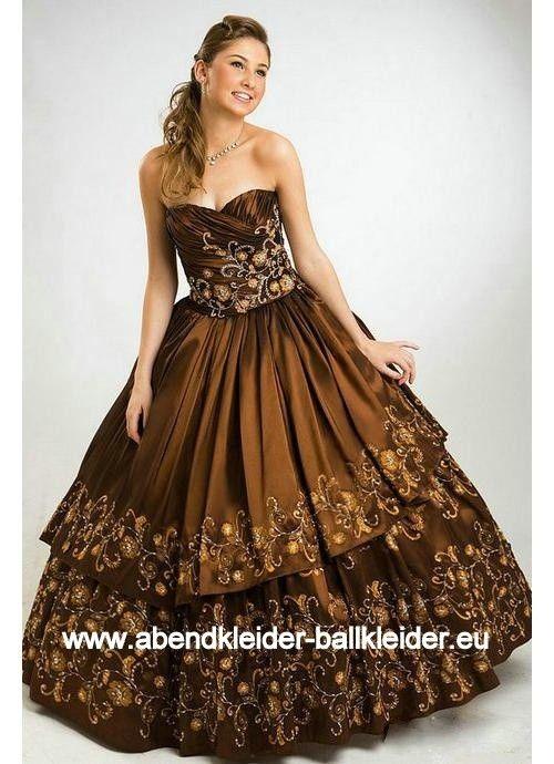 Stickereien Abendkleid Ballkleid in Bronze Braun ...