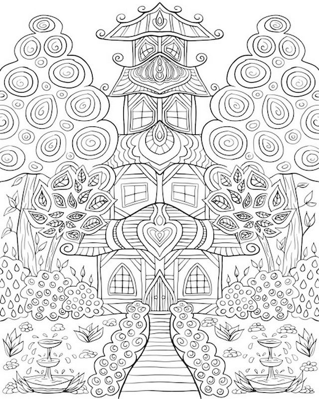 Oriental House Garden | Coloring Canvas - Canvas On Demand | tReE ...