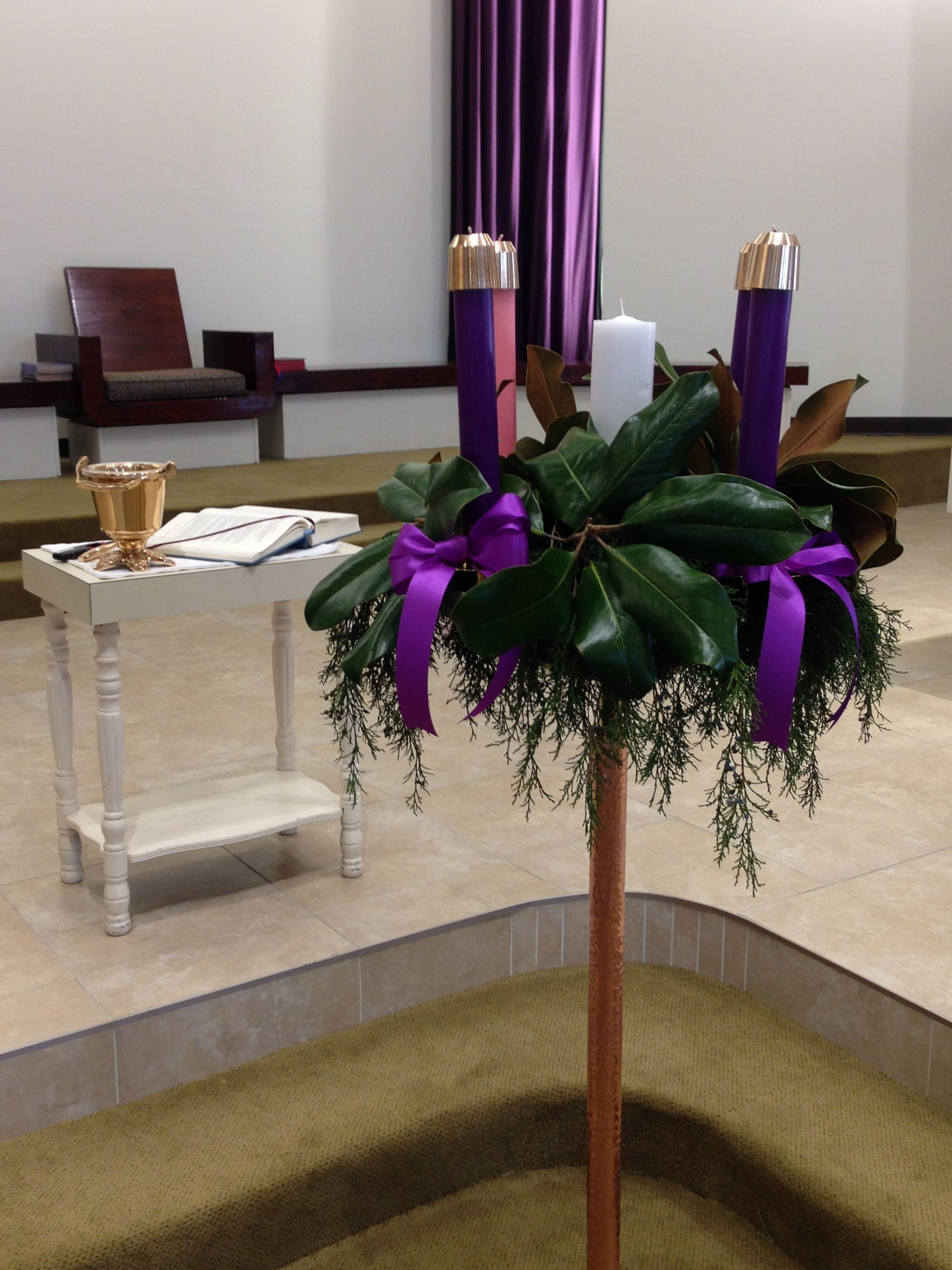 Advent Candle With Cedar And Magnolia Leaves The Ladies Altar