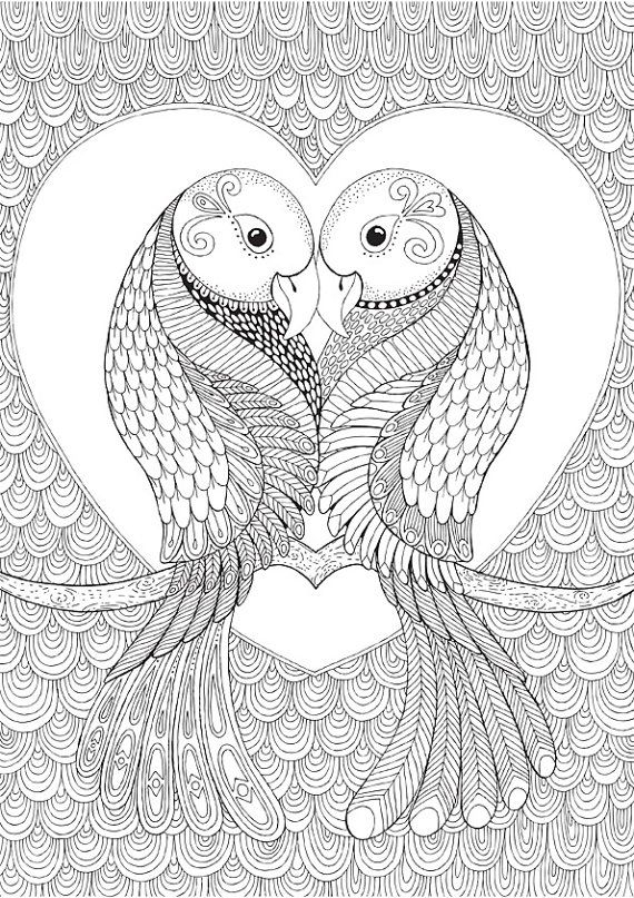 Lovebirds Colour With Me Hello Angel Coloring Design Detailed Meditation Coloring For Grown Ups Doodles Animal Coloring Pages Bird Coloring Pages Art