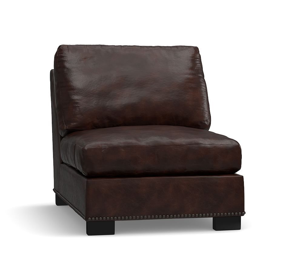 Turner Leather Armless Chair with Bronze Nailheads, Down