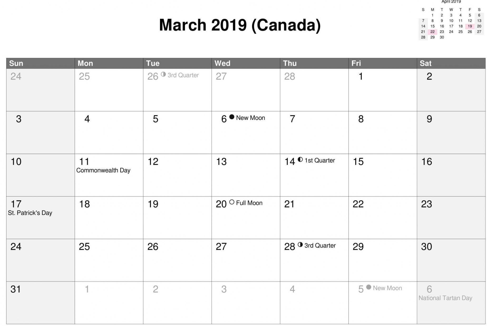March 2020 Calendar Canada With National Bank And Public Holidays