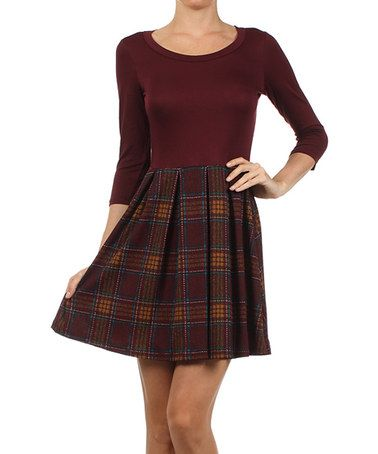 Look what I found on #zulily! Burgundy & Brown Plaid A-Line Dress by Gilli #zulilyfinds