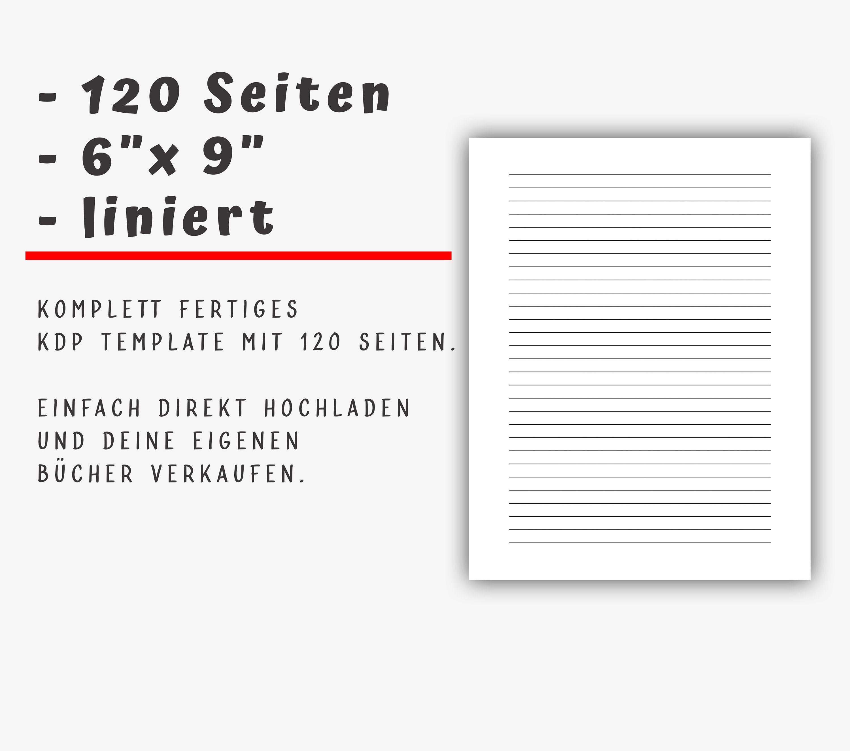 120 Seiten Liniert Kdp Template Fertige Pdf Datei 6 X 9 For Kindle Direct Publishing No Low Content Buchinhalt Kdp Templates Book Template