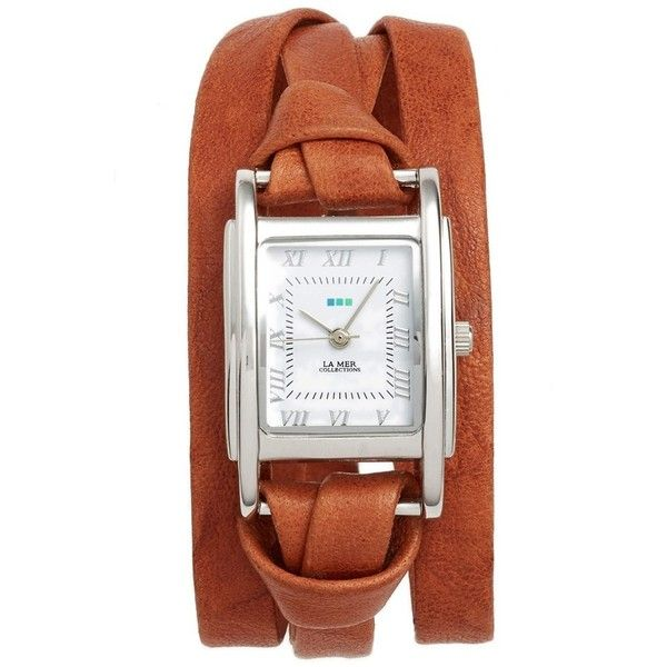 Women's La Mer Collections 'Milwood' Leather Wrap Watch, 35Mm ($84) ❤ liked on Polyvore featuring jewelry, watches, la mer jewelry, wrap watches, la mer watches, polish jewelry and square watches