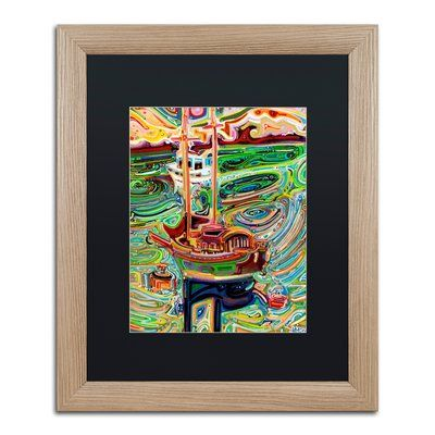 "Trademark Art 'Sailing to Tofino' Framed Painting Print Mat Color: Black, Size: 20"" H x 16"" W x 0.5"" D"