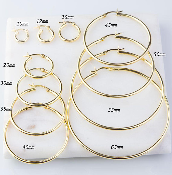 be1ae1c1f Heavy Gold Plated over Sterling Silver Hoop Tube Earring Finding Available  in sizes: 10mm, 12mm, 15mm, 20mm, 30mm, 35mm, 40mm, 45mm, 50mm, 55mm, ...
