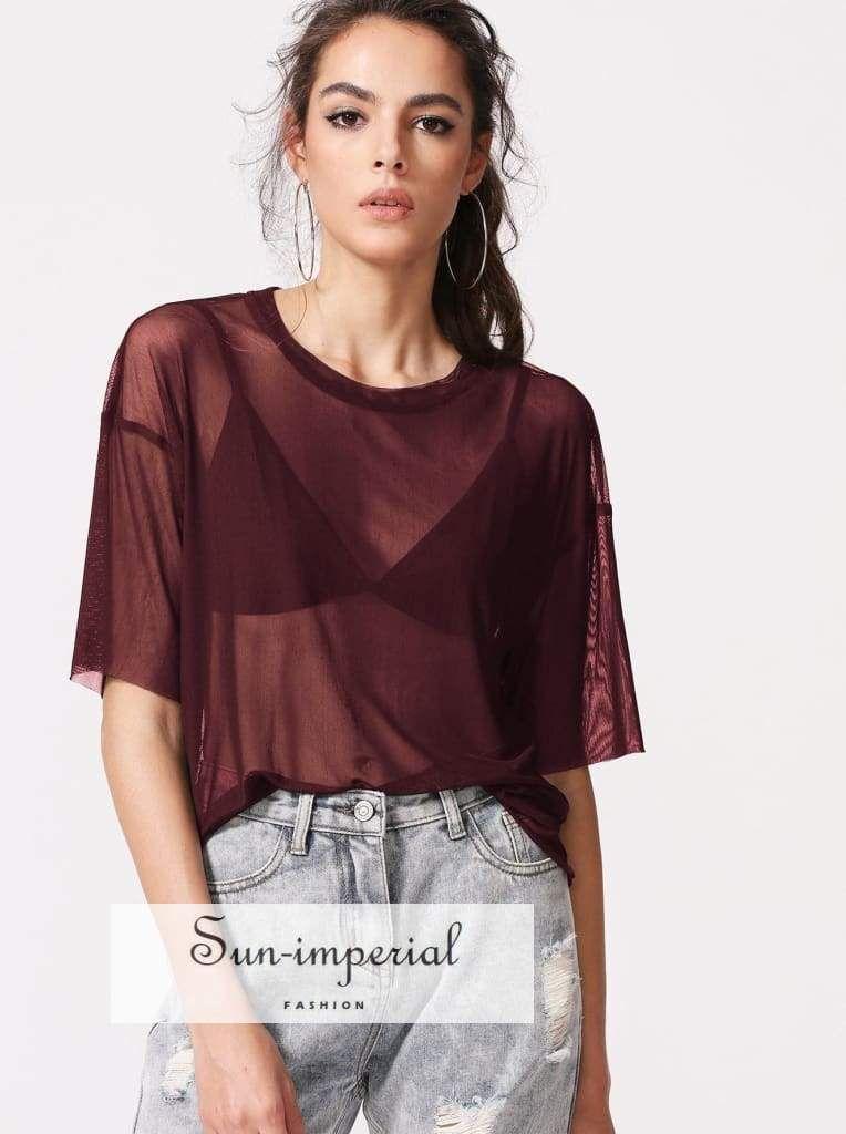 c4bad668ca617 Color  Burgundy Style  Sexy Collar  Round Neck Sleeve Length  Half Sleeve  Composition