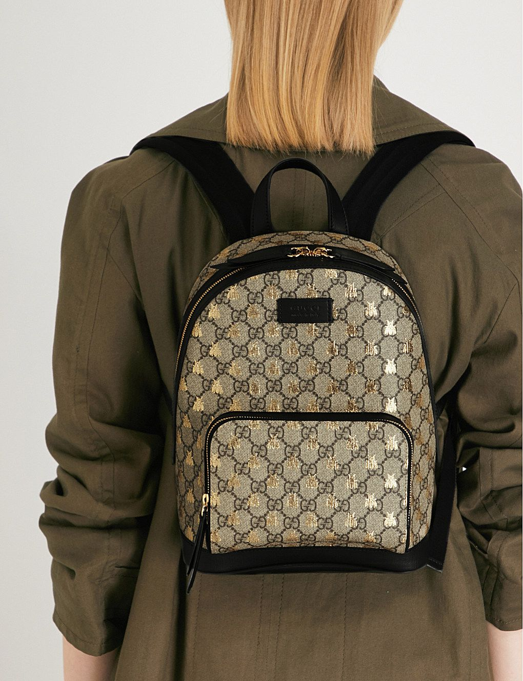140e21968 GUCCI - Bee GG Supreme backpack | Selfridges.com Gucci Bee Bag, Backpack  Outfit