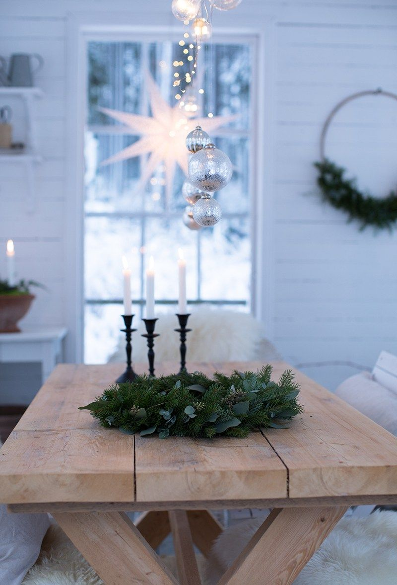 Christmas table setting Xmas decoration White Christmas   hygge ...