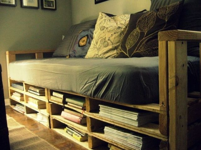 Pallet Bed Storage For Magazines And Books Pallet Furniture Plans Diy Pallet Couch Pallet Furniture