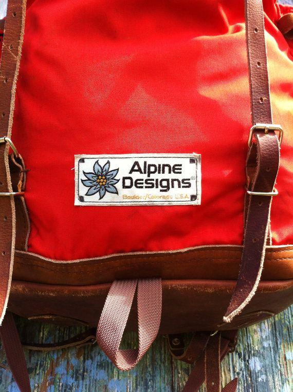 Amazing Vintage 70's Alpine Designs Leather Bottom Cordura Backpack