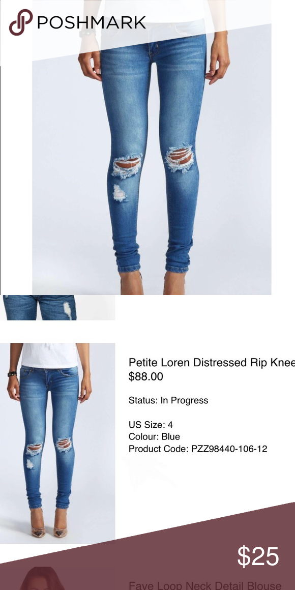 adddb3cb4d6 Petite's distressed jeans BOOHOO brand •size 24 distressed jeans for  PETITE. In 5'2 and the length is great •NEW unused •size 00 •no trades Boohoo  Jeans