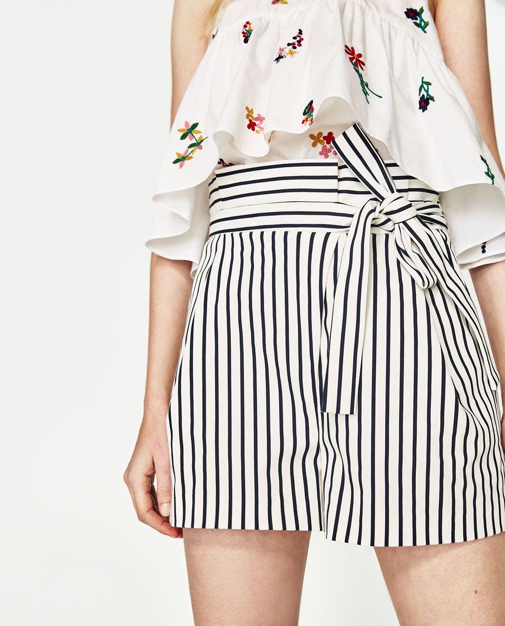 Stoffen Korte Broek Dames.Bermuda Met Plooien En Strik Shorts Dames Zara Nederland Mode In