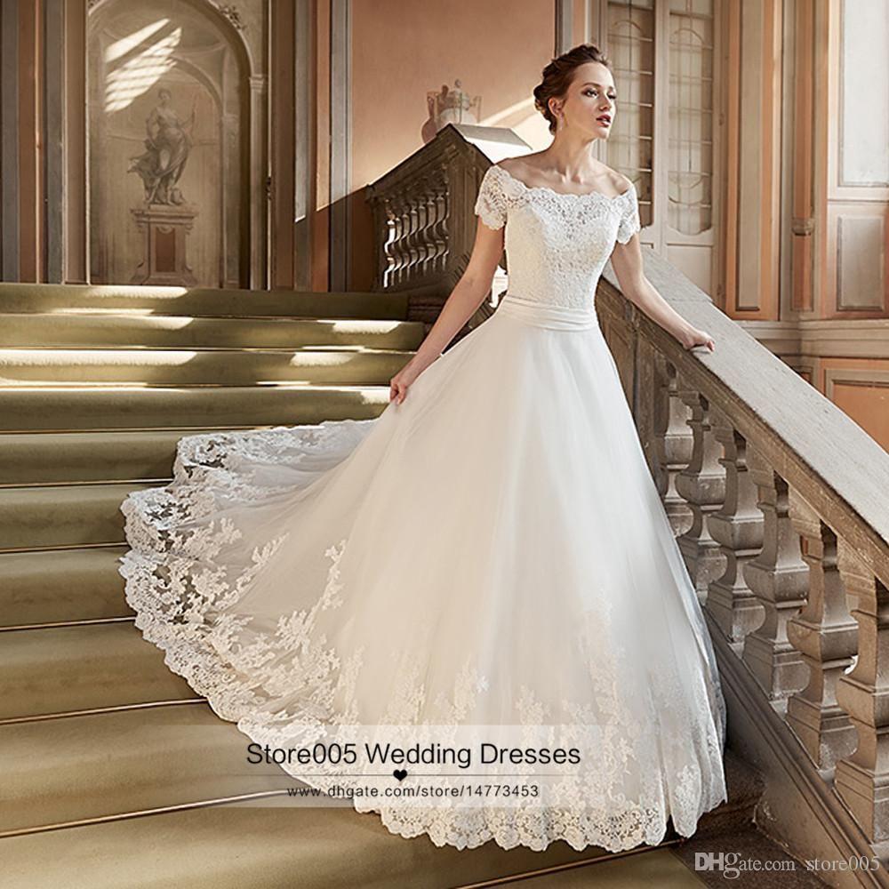 Luxus Kirche Brautkleider Spitze arabische weg Schulter Frauen Ivory ...