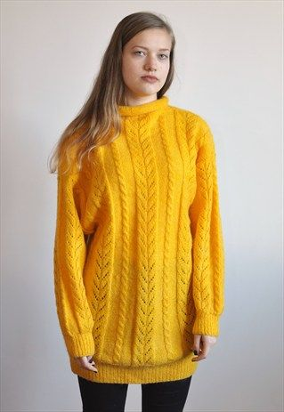 e5518911d72853 VINTAGE 90'S YELLOW JUMPER | Oversized sweaters | Jumper, Sweaters ...