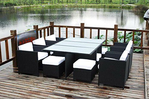13 Piece Outdoor Sectional Dining Wicker Patio Furniture