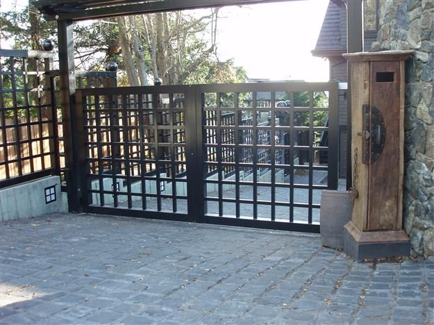 Swing Gates Articulating Arms Harbour Door Privacy Fence Designs Fence Design Steel Fence