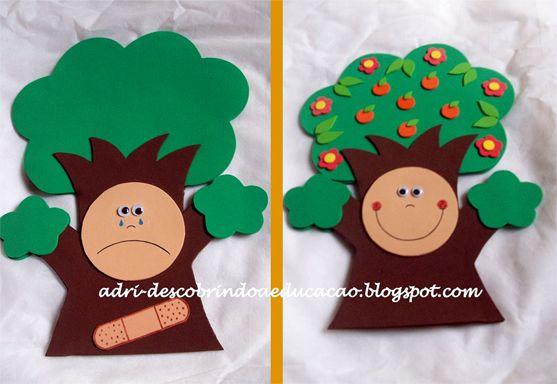 Atividades para maternal, creche e berçário: Fantoche da árvore feliz e árvore triste
