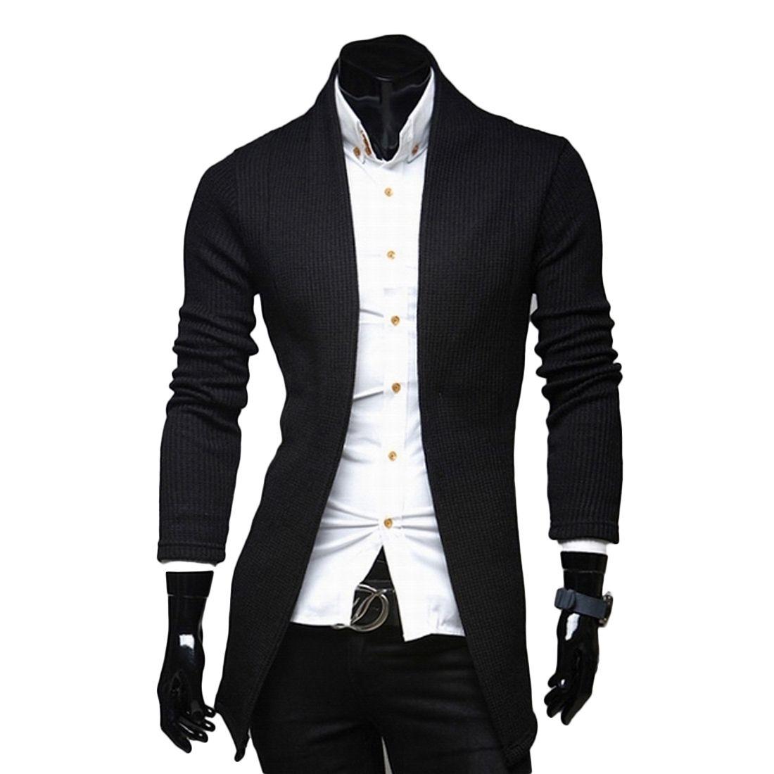 Black Gray Long Mens Cardigans V-Neck Long Sleeve Casual Slim ...