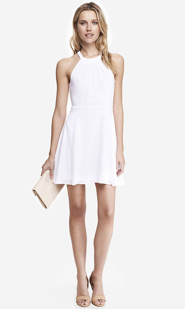 WHITE FIT AND FLARE HALTER DRESS | Express