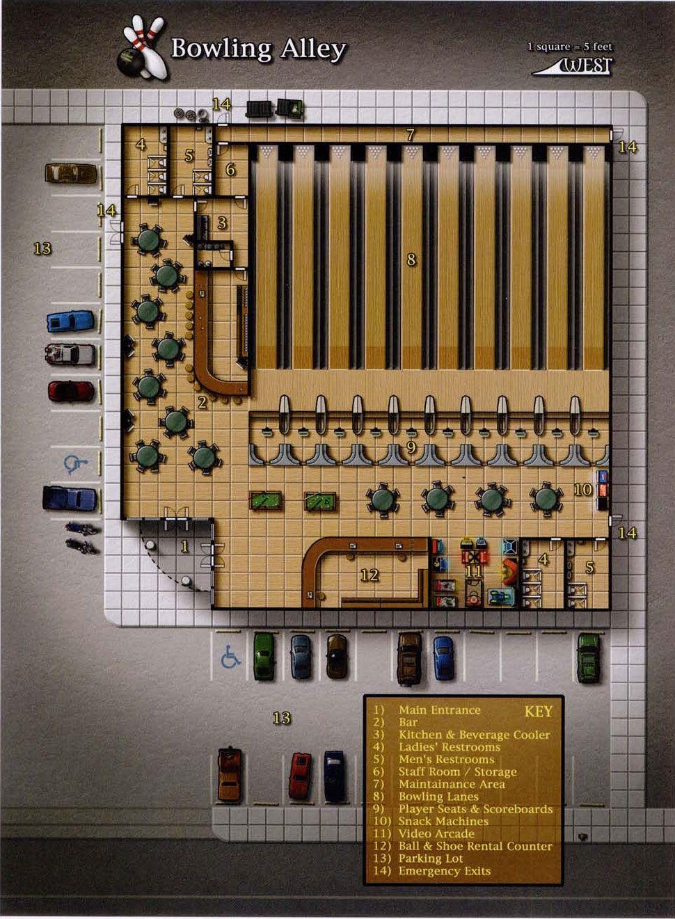 Bowling Alley Shadowrun Floorplan Rpg In - Bowling map para minecraft 1 10
