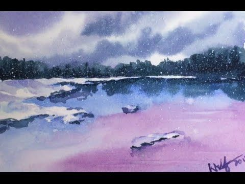 Simple Watercolor Winter Scene Demonstration Youtube Paysage