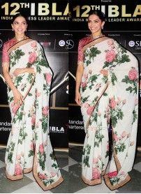 Deepika Padukone White Print Georgette Replica Saree ...