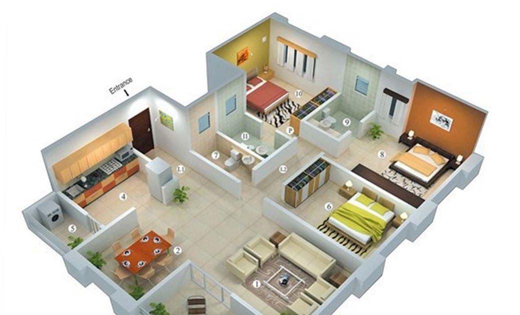 Rumah Minimalis Modern 1 Lantai 4 Kamar Tidur Desain Rumah Why Not Any Windows In Bathrooms Denah Ruma Small House Plans Three Bedroom House Plan House Plans
